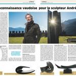 Enfin une reconnaissance vaudoise pour le sculpteur André Raboud - Le Régional - 10.02.2016